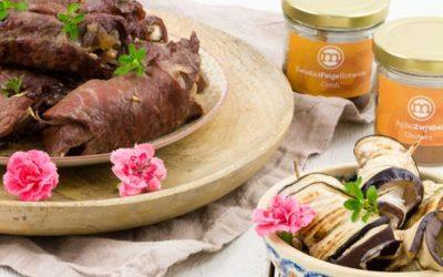 Gegrillte Rouladen vom Rind und vegetarisch