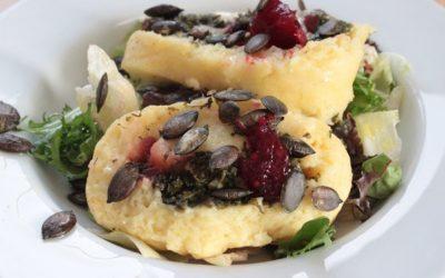 Rezept Gefüllte Katoffelrolle mit Gorgonzola, Spinat & RoteBeteBirne Chutney