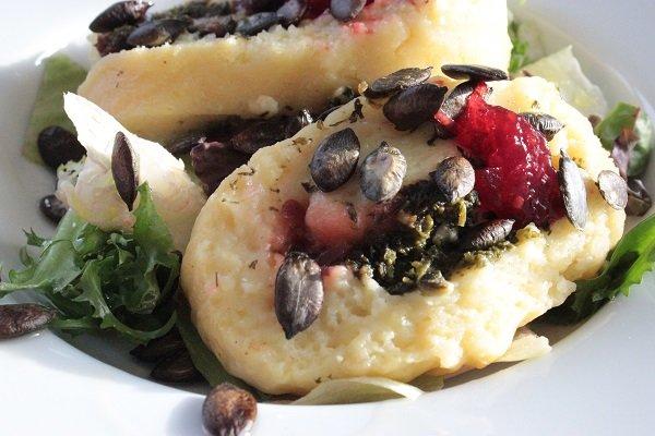 Kartoffelrolle als vegetarische Hauptspeise
